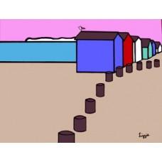 Beach Huts at Coast Card (Box Canvas)