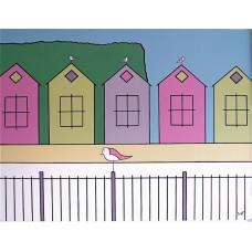 Southsea Beach Huts (Mounted Print)